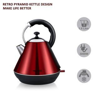1321) MLITER Electric Pyramid Kettle 3000W Fast Boil Kettle Cordless Stainless Steel Water Boiler with Boil Dry Protection, Filter, Cool-Touch Handle, Auto Shut Off 1.8L Red