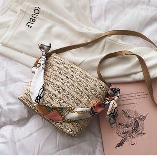 straw scarf cross sling body bag