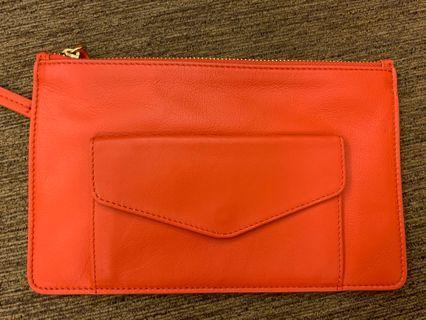🚚 橘紅色clutch 信封包 手拿包