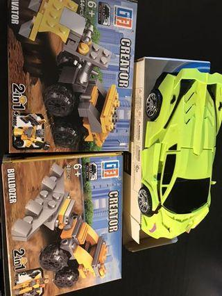 Toy construction vehicles (in building bricks) and transformable car