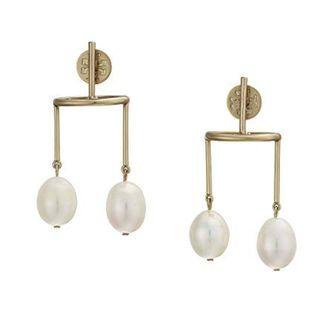 TORY BURCH BAROQUE DOUBLE-PEARL EARRING (Pearl / Gold)