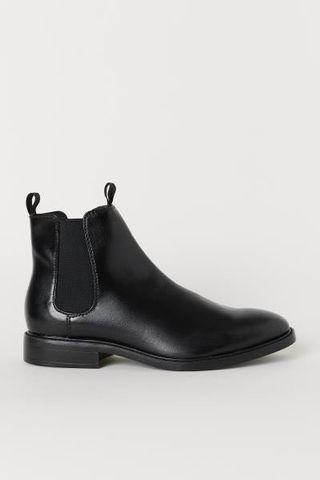 H&M Chelsea Boots Leather Black 43