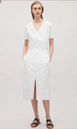 COS SKIRT WITH FRONT SLIT in White