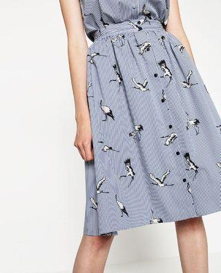 ZARA bird print skirt