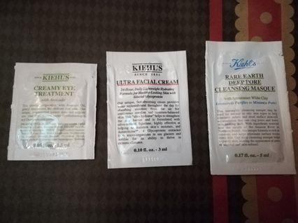 Kiehls Sample Sets (Ultra Facial Cream, Creamy Eye Treatment, Rare Earth Deep Pore Cleaning Masque)