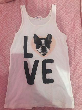 H&M white love tank top S