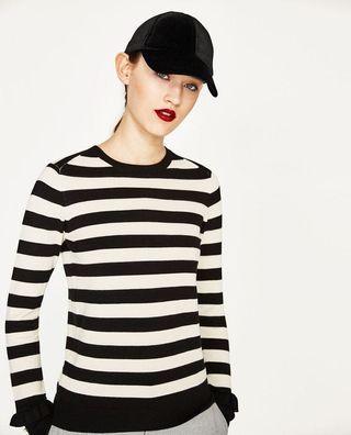 ZARA stripe pearl cuff sweater