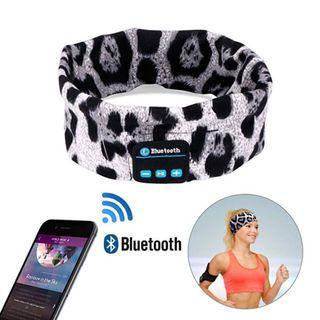 Item#183 - Wireless Sports headband Sleep Headphones Headset (Leopard -White)