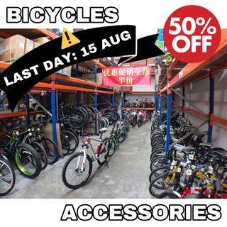50% Off ALL Bicycles & Accessories