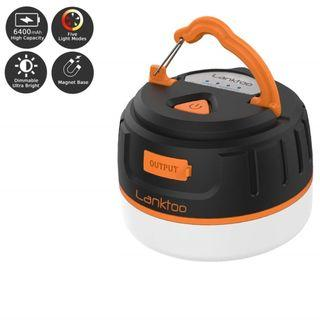 1334) lanktoo 2-In-1 Rechargeable Camping Lantern & Power Bank Charger 6400mAh - IP65