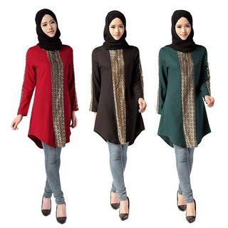 Muslim Women Long Sleeve Islamic Turkish Malaysian Long Blouse Tops