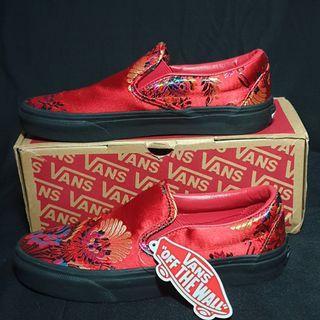 (NEW) Vans Classic Slip On Red Floral Satin Original