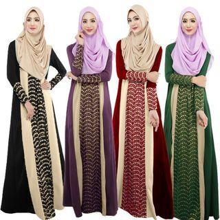 Muslim Women Long Dress Stitching Long Sleeved Abaya Islamic Kaftan Dresses