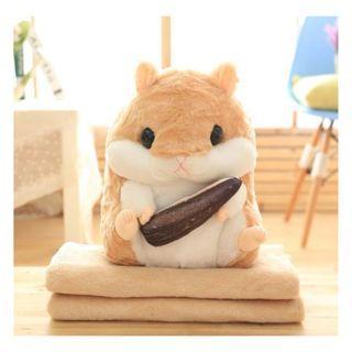 【現貨】超可愛倉鼠抱枕毯 汽車抱枕毯子兩用 倉鼠二合一抱枕毯 倉鼠抱枕 1689批發【一件代發、代購、物流集運】