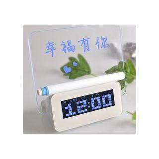 【現貨】 電子創意鬧鐘 靜音夜光多功能螢光留言板 LED時間顯示時鐘 電子鐘 1689批發【一件代發/代購/集運】