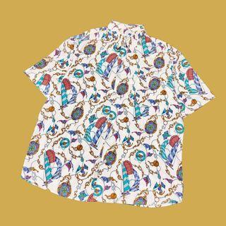 🚚 古著短袖花襯衫 金鎖鍊 復古 vintage 老品 古著襯衫