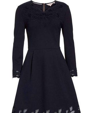 Ted Baker Cutwork Embroidered Dress - Navy