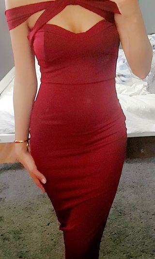 Prettylittlething Burgundy Bodycon Midi Dress