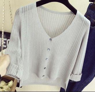 Thin knitted cardigan in gray