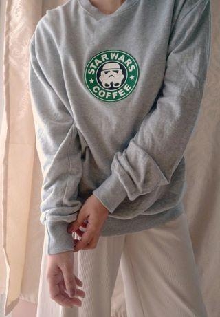 Sweater weather Starwars Coffee Grey Oversized Pullover