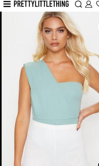 Selling New Prettylittlething One Shoulder Mint Bodysuit