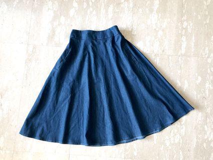 Denim blue midi flare skirt
