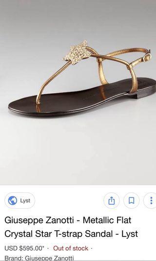 $595 GIUSEPPE ZANOTTI Crystal Star T-Strap Sandals