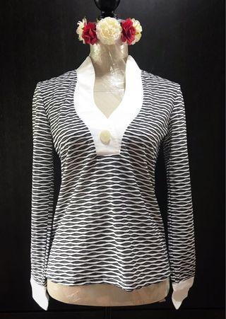Pretty Striped Sheer Black&White Top🦓