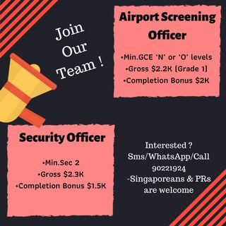 🚚 Security Officer and airport screening officer needed