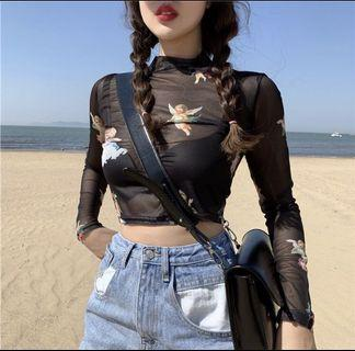 🚚 cropped angels mesh top