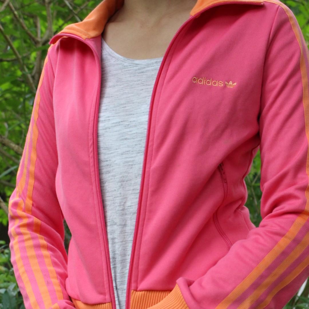 Adidas Hong Kong Pink and Mandarin Orange Athletic Jacket Barely Worn