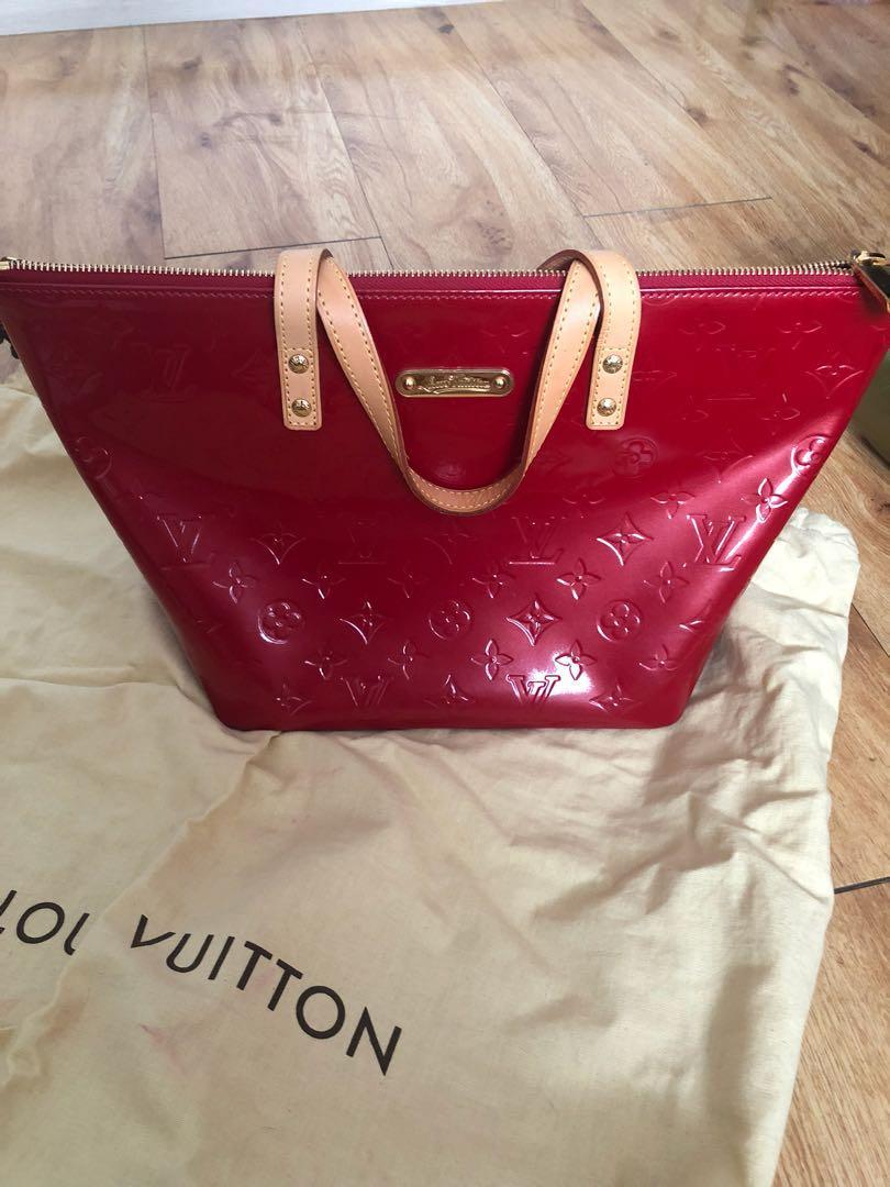 Authentic Louis Vouitton Pomme D'Amour Monogram Vernis Bellevue PM Bag