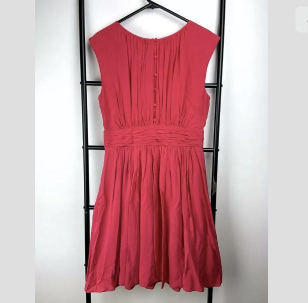 Boden sz 10 Selina dress fit flare bright pink red orange pleated smart casual