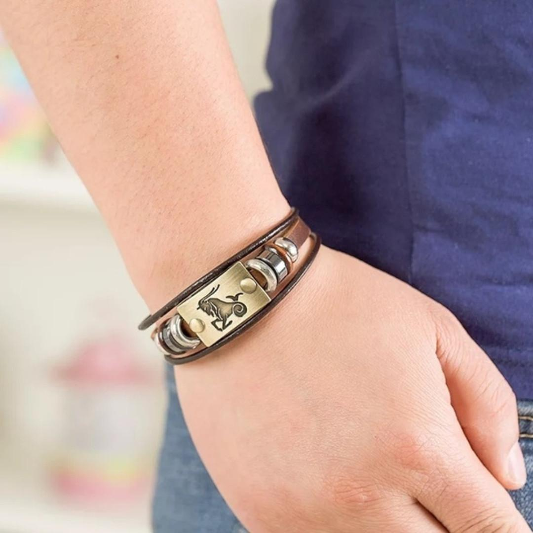 Capricorn Leather Bracelet With Stainless Steel Clasp