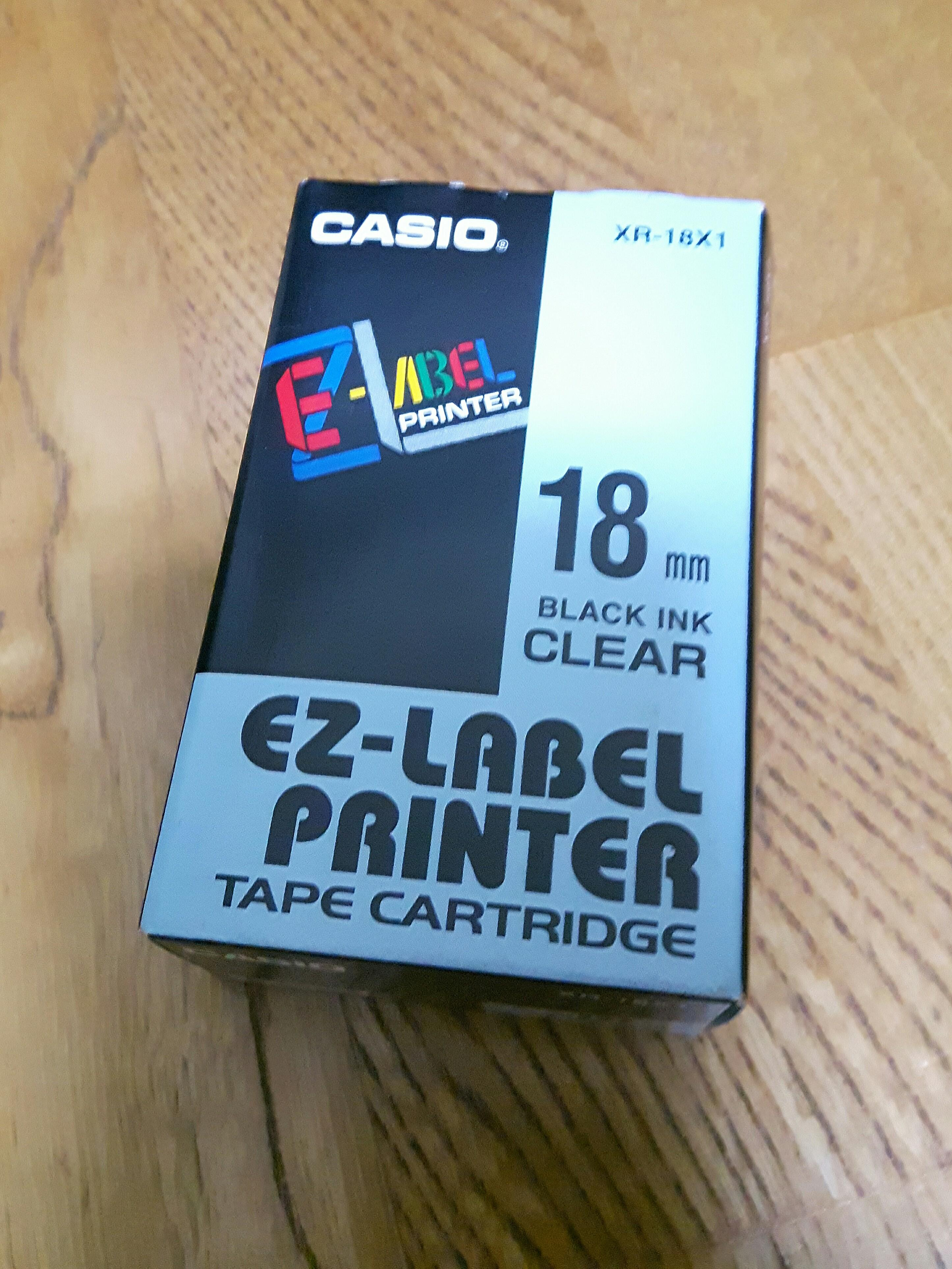 CASIO 卡西歐 18mm XR-18X1透明底黑字 原廠標籤色帶