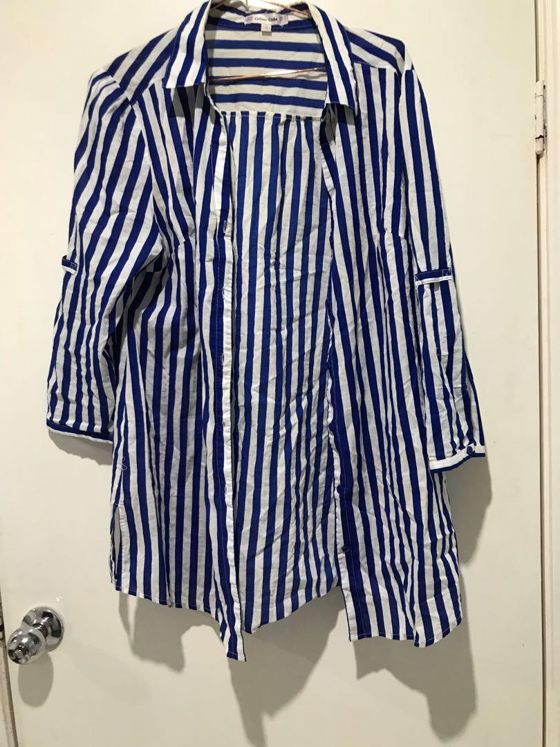 Colour code blue and white oversized and long button up shirt