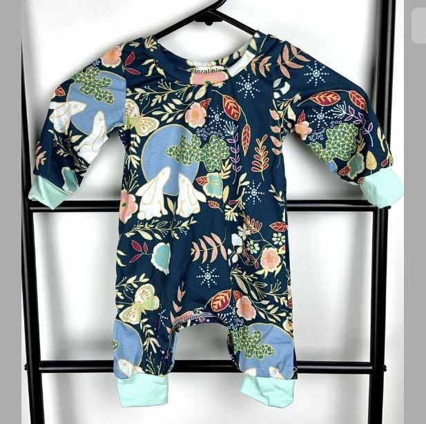 Floral Pig green multicolour rabbit floral newborn baby toddler bodysuit outfit