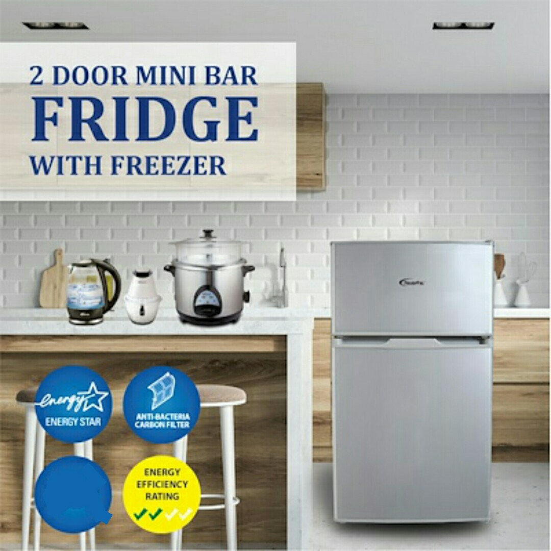 Free Delivery 2 Door Fridge Mini With Freezer 71l Home