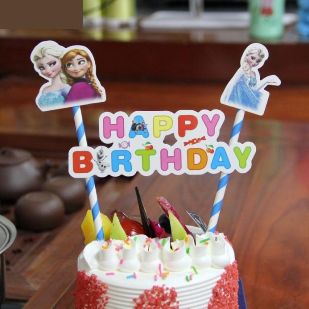 Incredible Frozen Elsa Anna Princess Happy Birthday Cake Topper Food Funny Birthday Cards Online Elaedamsfinfo