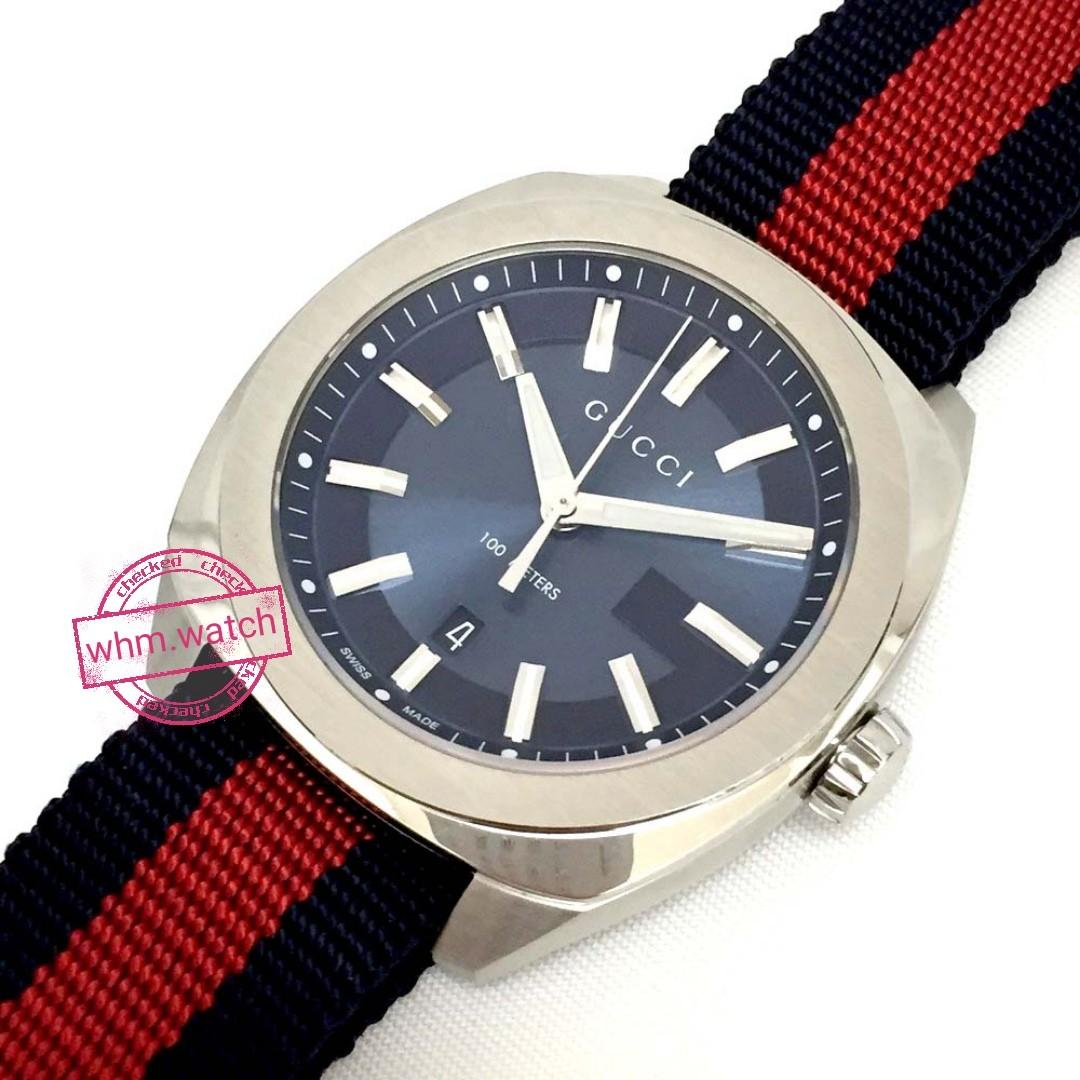 6d99e51f GUCCI GG2570 Blue Dial Blue and Red Nylon Watch Item ...