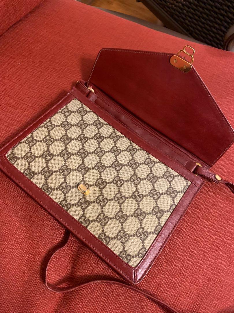 GUCCI Original GG Shoulder Bag Brown PVC Vintage Authentic