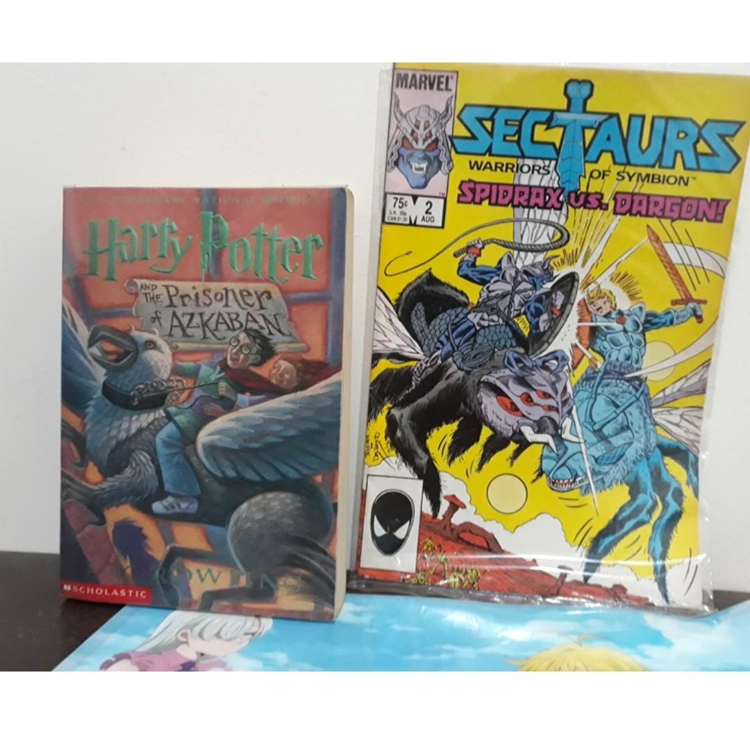 Harry Potter 3 Prisoner of Azkaban Book (softbound) and Vintage Sectaurs Comics with Anime Folder
