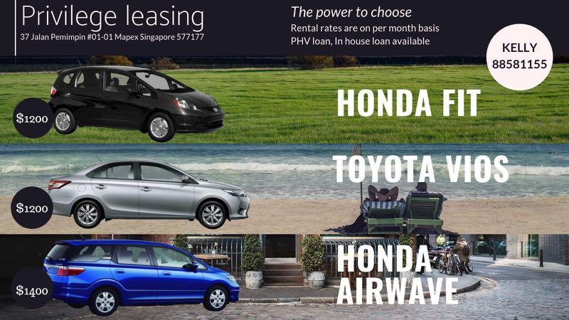 Honda Fit, Airwave, Toyota Vios, BMW for rent / leasing