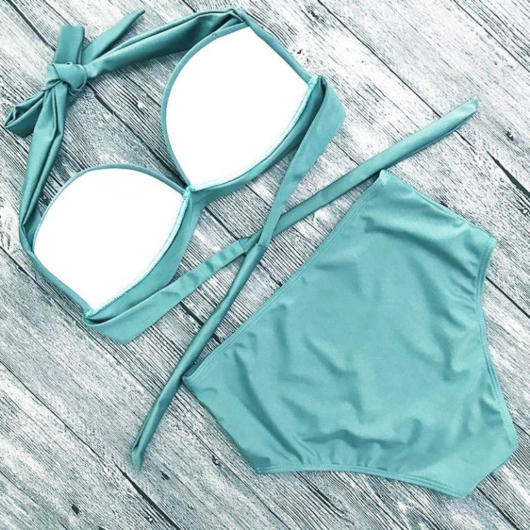 [Malaysia Stock] Bikini Set Push Up High Waist Halter Tie Turquoise Swimsuit