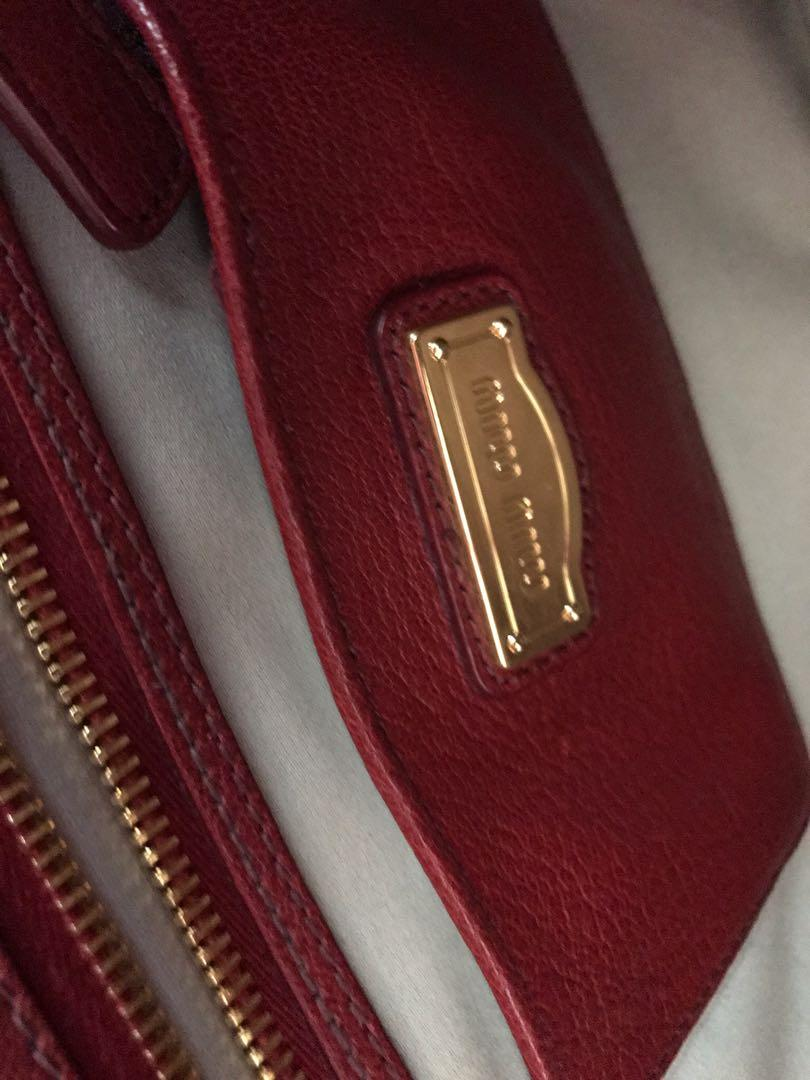 MIU MIU LEATHER HANDBAG PURSE - MADRAS BICOLORE MANDARINO+RU - ORANGE AND RED
