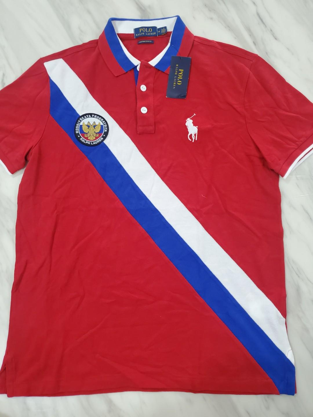 Red Slim Lauren MMen's Ralph Russia Big Polo Tee Pony New Custom c4jRqL35AS