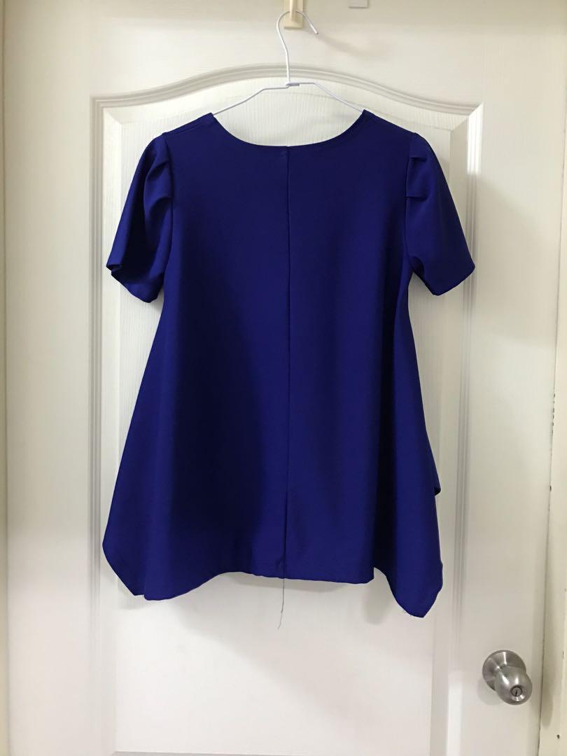nice ioi雪紡寶藍色/黃色短袖質感不對稱衣襬公主袖長版上衣(正韓貨) TB