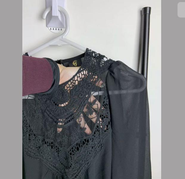 Passion Fusion sz S/M black basic lace semi sheer dress party casual funeral