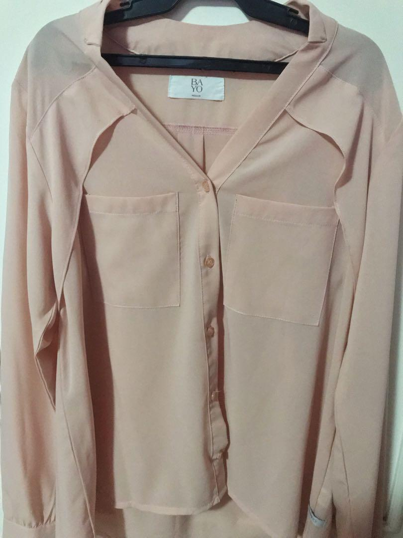 Pink Long Sleeve Button Down Polo