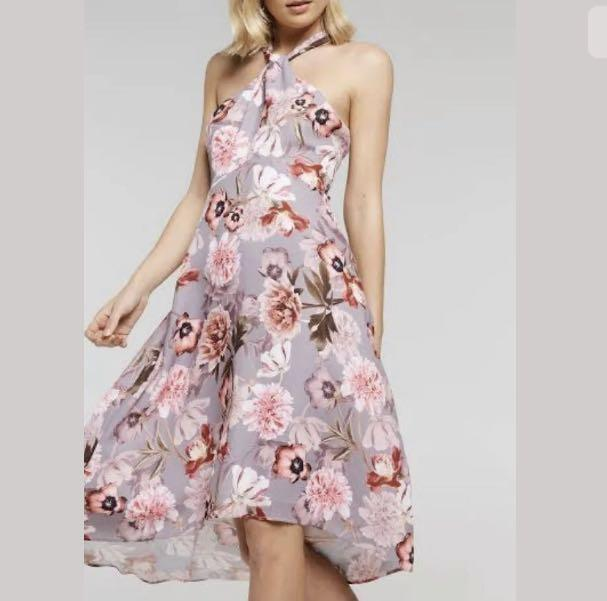 Portmans M Rosewood Garden Halter Dress pink floral fit flare wedding party